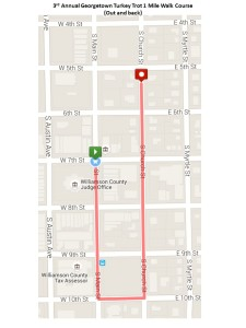 Georgetown Turkey Trot 2015 1 Mile Course Map