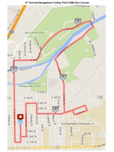 Georgetown Turkey Trot 2015 5 Mile Course Map