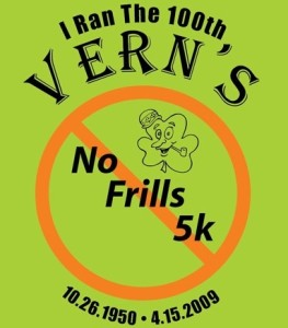 100th Vern's No Frills 5k Logo